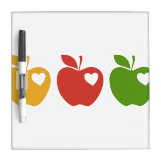Apple verde rojo amarillo pizarras blancas