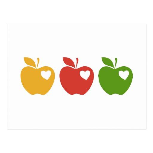 Apple verde rojo amarillo postal