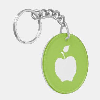Apple verde y blanco llavero redondo acrílico a doble cara