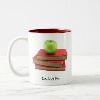Apple verde y el mascota Drinkware del profesor de Taza De Dos Tonos