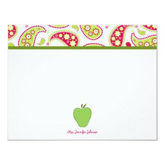 Apple verde y Notecard plano personalizado Paisley Invitacion Personal