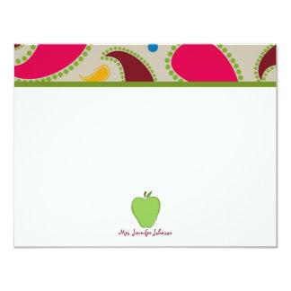 Apple verde y Notecard plano personalizado Paisley Anuncio Personalizado