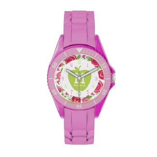 Apple verde y reloj floral del profesor del monogr