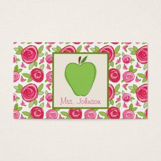 Apple verde y tarjeta de visita rosada del