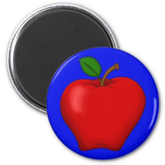 Apple with Blue Background Round Magnet