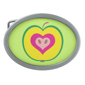 Apple with Love Heart Belt Buckles