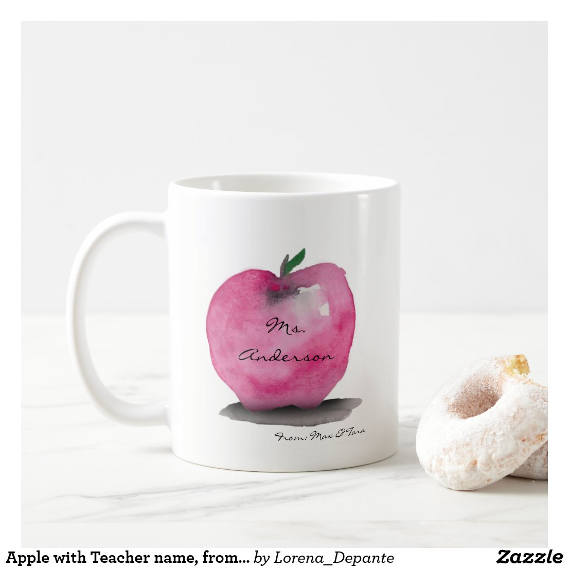 Apple with Teacher name, from student, custom Coffee Mug