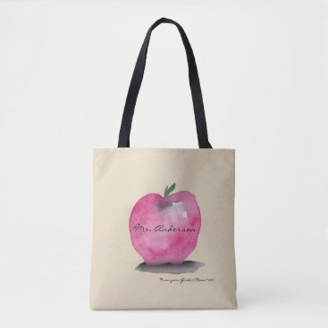lorena_depante Apple with Teacher name, from student, custom Tote Bag