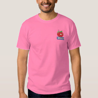Apple with Worm Embroidered T-Shirt