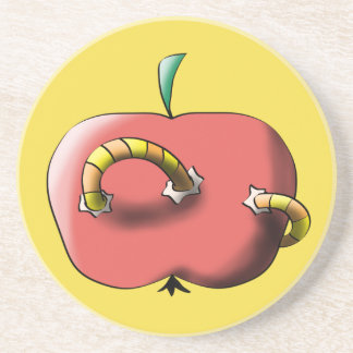 Apple with worm sandstone coaster