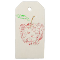 apple wooden gift tags