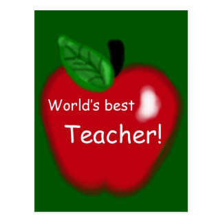 "Apple ""World's Best Teacher"" Gift Postcard"