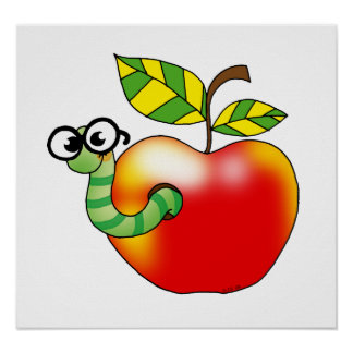 Apple & Worm, back to school Poster