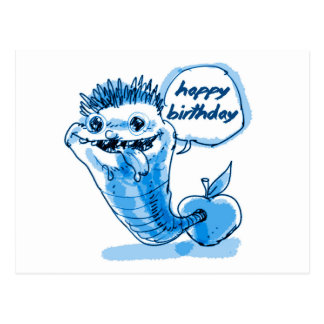 apple worm cartoon happy birthday postcard