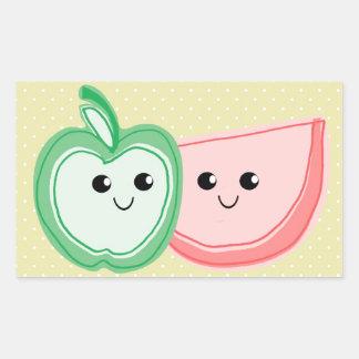 Apple y amigos lindos de la sandía pegatina rectangular