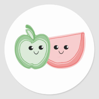 Apple y amigos lindos de la sandía pegatina redonda