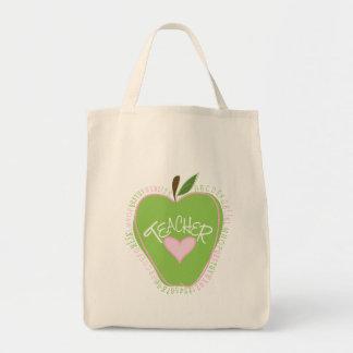 Apple y bolso verdes del profesor del alfabeto del bolsa tela para la compra