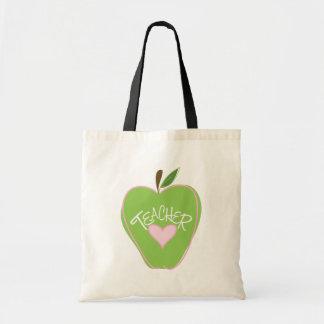 Apple y bolso verdes del profesor del corazón bolsa tela barata