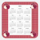 Apple y calendario a cuadros rojo y blanco 2012 pegatina cuadradas