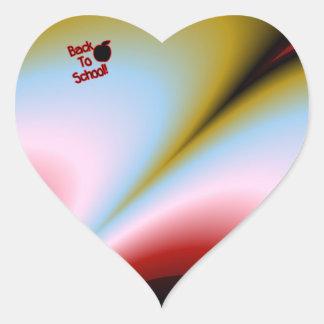 Apple y de nuevo a escuela - pegatina en forma de corazón