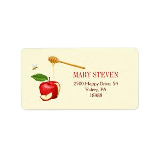 Apple y etiqueta de dirección de la miel - persona