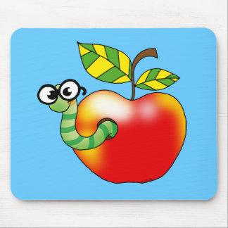 Apple y gusano, de nuevo a escuela tapetes de ratón