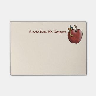 Apple y gusano para el profesor nota post-it