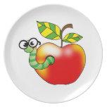 Apple y gusano plato para fiesta