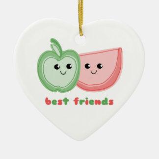 Apple y mejores amigos lindos de la sandía adorno navideño de cerámica en forma de corazón