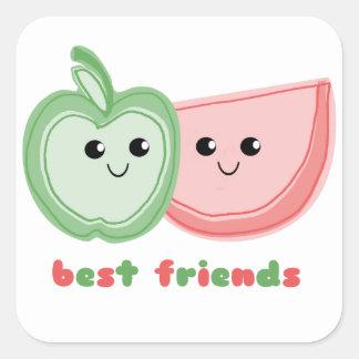 Apple y mejores amigos lindos de la sandía pegatina cuadrada
