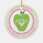 Apple y ornamento verdes del profesor del alfabeto adorno para reyes