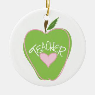 Apple y ornamento verdes del profesor del corazón ornamento para reyes magos