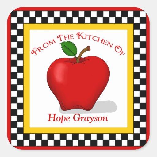 Apple y pegatinas del cuadrado de la cocina del pegatina cuadrada