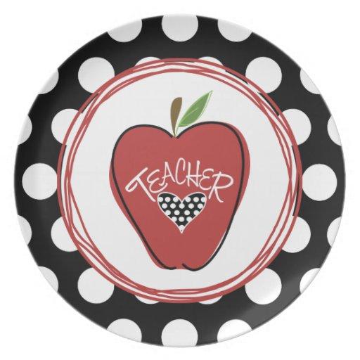 Apple y placa rojos del profesor de los lunares platos para fiestas