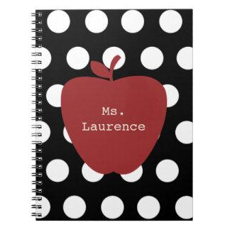 Apple y profesor rojos del lunar libros de apuntes con espiral