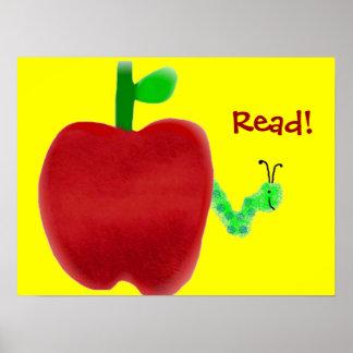 Apple y ratón de biblioteca póster