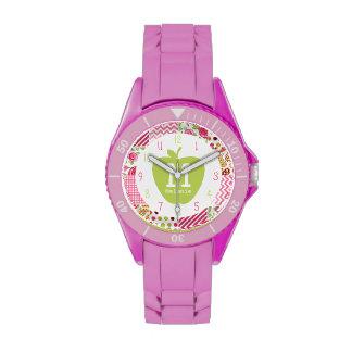 Apple y reloj verdes del profesor del monograma de