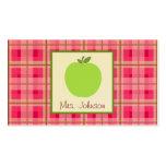 Apple y tarjetas de visita verdes del profesor de