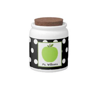 Apple y tarro verdes del caramelo del profesor del platos para caramelos