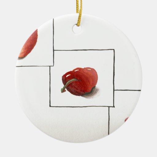 Apple y transformación de los corazones adorno navideño redondo de cerámica