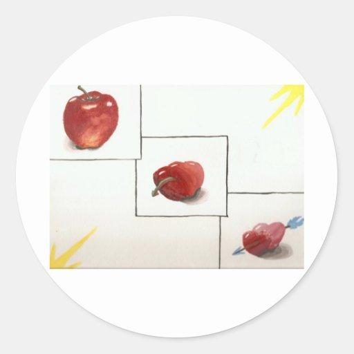 Apple y transformación de los corazones pegatinas redondas