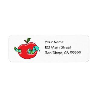 Apple y un gusano hambriento etiquetas de remite