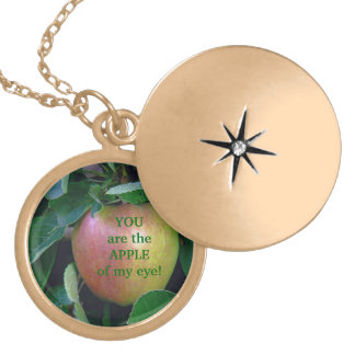 "APPLE, ""YOU ARE THE APPLE OF MY EYE"" GOLD PLATED NECKLACE"