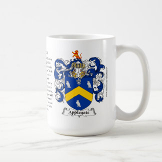 Applegate, the Origin, the Meaning and the Crest Classic White Coffee Mug