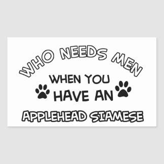 Applehead siamese cat designs rectangular sticker
