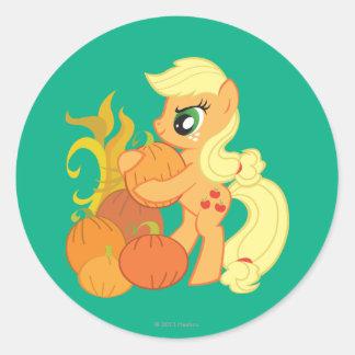 Applejack with Pumpkins Classic Round Sticker