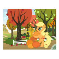 Applejack with Pumpkins Postcard