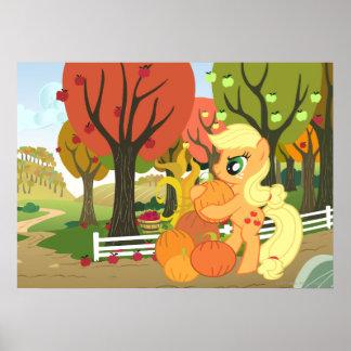 Applejack with Pumpkins Poster