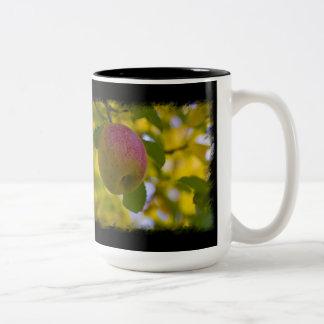 Apples 2 on Black Two-Tone Coffee Mug