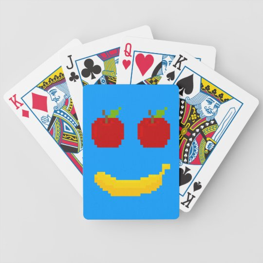Apples and Banana Pixel Art Bicycle Playing Cards
